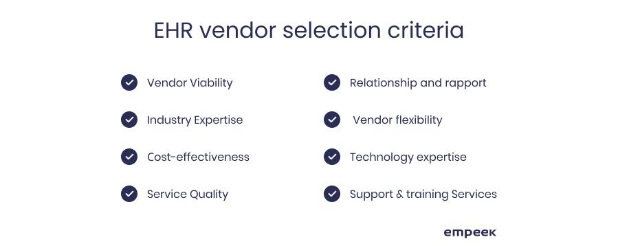 EHR vendor selection criteria