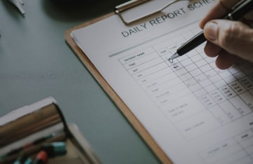 filling out a daily report